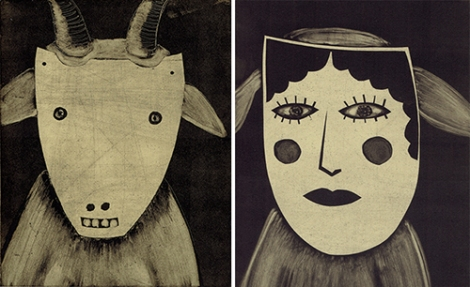 Goat with Goat Mask; Dog with Lady Mask
