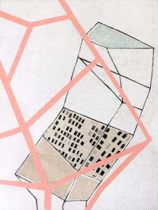 "Monument1, aquatint with collage, 15"" x 20"" (detail)"