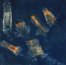 "Jodi Waltier, Westward Ho!, 2018. Cotton/iron/indigo, 20""x20"""