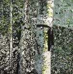 Karen Klee-Atlin, Blazed Birch - Black Ribbon, (2018). Reductive linocut on paper, 20 x 20 in.