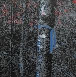 Karen Klee-Atlin, Blazed Birch - Charcoal, (2018). Reductive linocut on paper, 20 x 20 in.