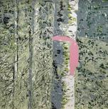 Karen Klee-Atlin, Blazed Birch - Pink Ribbon, (2018). Reductive linocut on paper, 20 x 20 in.