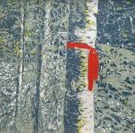 Karen Klee-Atlin, Blazed Birch - Red Ribbon, (2018). Reductive linocut on paper, 20 x 20 in.