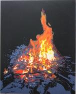Karen Klee-Atlin, Campfire 2, (2016). Reductive linocut on paper, 22 x 30 in.