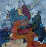 Anna Macrae, Strumpshaw Fen (2017). Oil, mixed media on canvas, 24 x24 in.