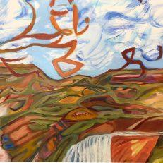 Cynthia Hibbard, Happy Trails, (detail) oil on board, 24×30 in