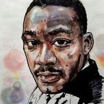 MLK, Mixed Media on Paper, 5x8