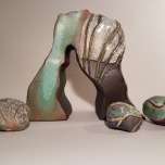 Arch Oscuro (with river rocks), Ceramic, 14 x 17 x 6