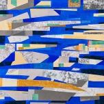 "Kyoto-Osaka-Kobe, Japan, 19.3 million in 2010 36"" x 36"" acrylic paint and collage on canvas 2018 $1650"