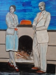 Fire Place, watercolor, mixed media on paper, 24x18, inspired by photo of my Uncle Willis and his wife, 2020, $850