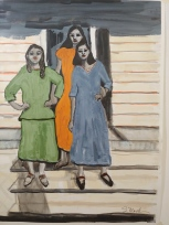 Pals, watercolor, mixed media on paper, 24x18, inspired by a photo of my mom in orange and her Oberlin Village girlfriends circa 1930s, 2020, $850