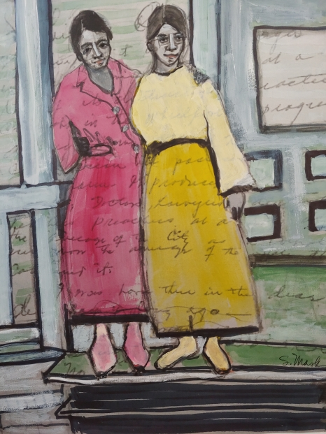 "Porch (Pink & Yellow), watercolor, mixed media on paper, 14x11, One of several in the Porch series, inspired by a photograph. ""Oakcrest"" in the background is the name of the Graves House, 2020, $600"