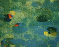 Karen Klee-Atlin, Pond Surface – Blue 1, Woodcut, 22 x 28, Unframed, 2020, $450