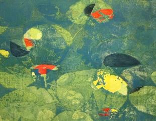 Karen Klee-Atlin, Pond Surface – Blue 2, Woodcut, 22 x 28, Unframed, 2020, $450