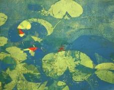 Karen Klee-Atlin, Pond Surface – Blue 4, Woodcut, 22 x 28, Unframed, 2020, $450