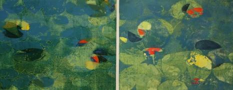 Karen Klee-Atlin, Pond Surface Diptych – Blue 2, Woodcut, 28 x 46, Unframed, 2020, $900