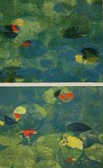 Karen Klee-Atlin Pond Surface Diptych – Blue 2, Woodcut, 28 x 46, Unframed, 2020, $900