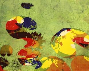Karen Klee-Atlin, Pond Surface – Green 1, Woodcut, 22 x 28, Unframed, 2020, $450