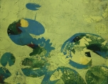 Karen Klee-Atlin, Pond Surface – Green 2, Woodcut, 22 x 28, Unframed, 2020 $450