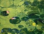 Karen Klee-Atlin, Pond Surface – Green 3, Woodcut, 22 x 28, Unframed, 2020, $450