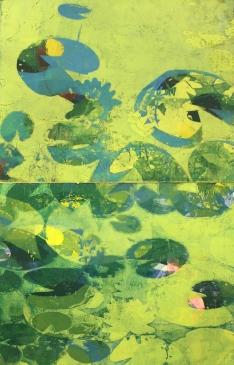 Karen Klee-Atlin, Pond Surface Diptych – Green, Woodcut, 28 x 44, Unframed, 2020, $900