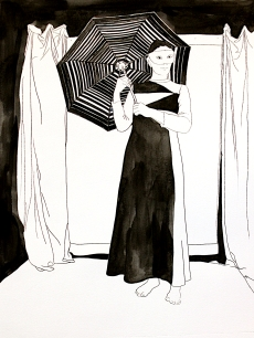 Karen Klee-Atlin, Colombine, with Umbrella, drypoint and watercolor, 16x12, 2020_ $200