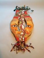 Barbara Shaiman and Marita Dingus, Fiendship 2, glazed stoneware and mixed media, 34x16x3 2020 $1800