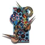David Traylor, Zanni-Blue Polka Dot One, acrylic on board, 22x10x3, 2020
