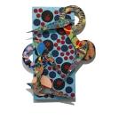 David Traylor, Zanni-Blue Polka Dot Two, acrylic on board, 22x10x3, 2020