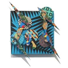 David Traylor, Zanni-Blue Square One, acrylic on board, 20x20x3, 2020