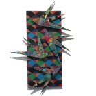 David Traylor, Zanni HarlequinThree, acrylic on board, 22x10x3, 2020,