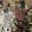 Cynthia Hibbard, Guardian Angel, Oil, paper collage, cold wax on aluminum, 16x 20, $200, contact: cynthiahibbard@gmail.com