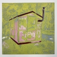 Karen Klee-Atlin, Ice Fishing Hut - Green, linocut, 10 x 10, 2020, $175, contact: karenklee@atlin.org