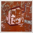 Karen Klee-Atlin, Ice Fishing Hut - Rust, linocut,10 x 10, 2020, $175, contact: karenklee@atlin.org